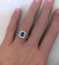 Emerald Cut Sapphire Damond Engagement Ring in White Gold