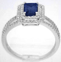 Sapphire Engagement Ring Emerald Cut Diamond Halo White Gold