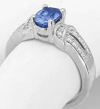 Oval Blue Sapphire Diamond Ring in 14k