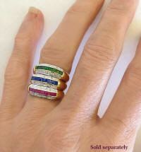 Stack Rings in Ruby Sapphire Emerald