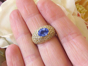Real Oval East West Set Natural Sapphire Ring with Pave Diamonds in solid 14k yellow gold
