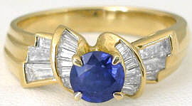 Damiani Sapphire Ring in 18k Yellow Gold