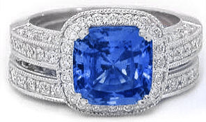 cushion ceylon sapphire engagement rings