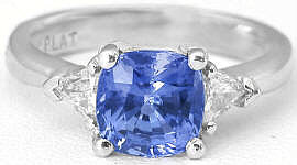 Ceylon Cushion Genuine Sapphire Engagement Ring in Platinum