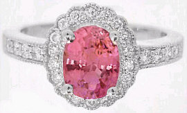 Peach Pink Sapphire and Diamond Engagement Ring in 14k white gold