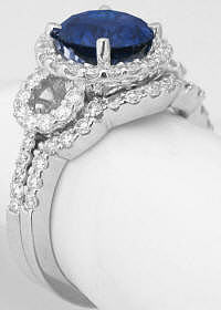 Blue Sapphire Engagement Ring and Wedding Band