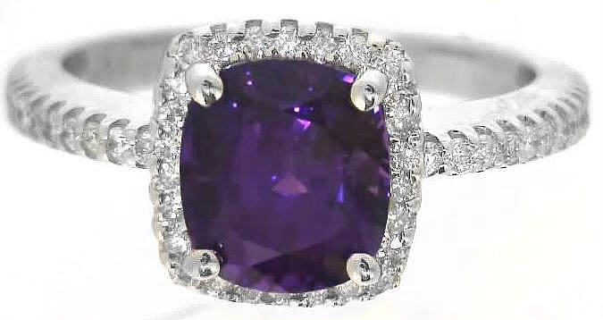 cushion cut purple sapphire ring - Purple Wedding Ring