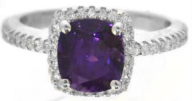 Cushion Cut Purple Sapphire Engagement Ring