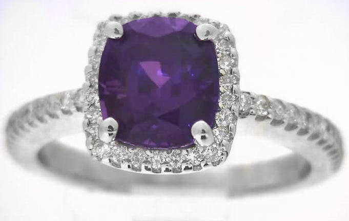 Cushion Cut Purple Sapphire And Diamond Halo Engagement
