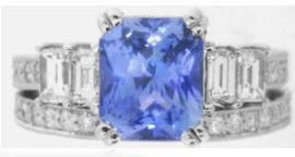Radiant Cut Sapphire Engagement Ring and Wedding Ring