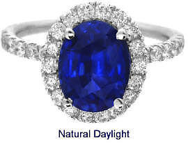 Finest Quality Ceylon Sapphire and Diamond Engagement Ring in 14k white gold