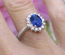 White Gold Kate Middleton Natural Sapphire Ring with real Diamond Halo for sale