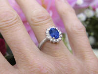 White Gold Princess Diana Natural Sapphire Ring with real Diamond Halo for sale