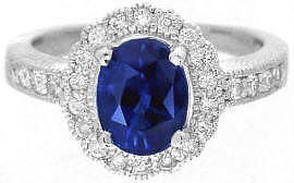Ceylon Intense Blue Sapphire and Diamond Ring in Platinum