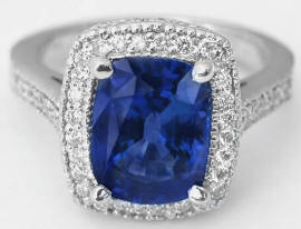 4.23 ctw Ceylon Blue Sapphire and Diamond Engagement Ring in 18k white gold