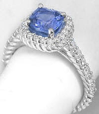 Twisted Rope Design Ceylon Cushion Blue Sapphire and Diamond Ring in 14k white gold