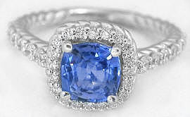 Ceylon Cushion Blue Sapphire and Diamond Ring in 14k white gold