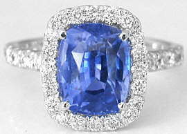 Outstanding 5.67 ctw Ceylon Blue Sapphire and Diamond Ring in 14k