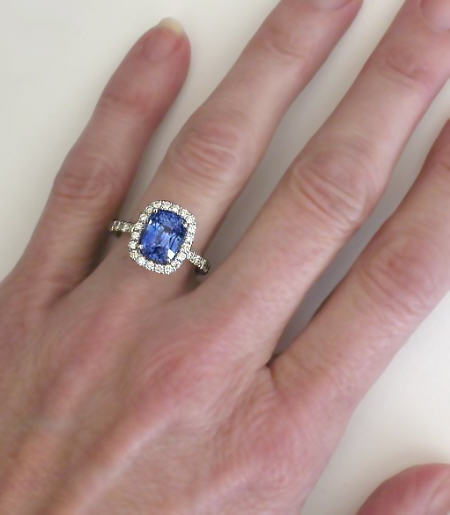 Outstanding Ceylon Blue Shire And Diamond Halo Ring In 14k