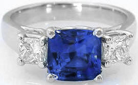 Extravagant 3.45 ctw Unheated Ceylon Blue Sapphire and Diamond Ring