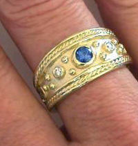 Etruscan Sapphire and Diamond Engagement Rings in 14k gold