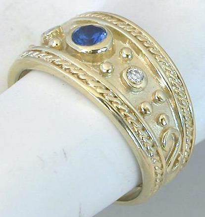 Sapphire Wide Band Ring with Etruscan Style Bezel Set in 14k