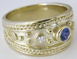 Wide Band Etruscan Style Sapphire and Diamond Ring in 14k gold