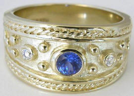 Etruscan Style 0.37 ctw Sapphire and Diamond Engagement Ring in 14k yellow gold