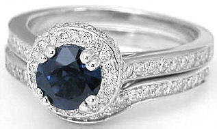Dark Blue Sapphire Engagement Ring with Matching Wedding Band