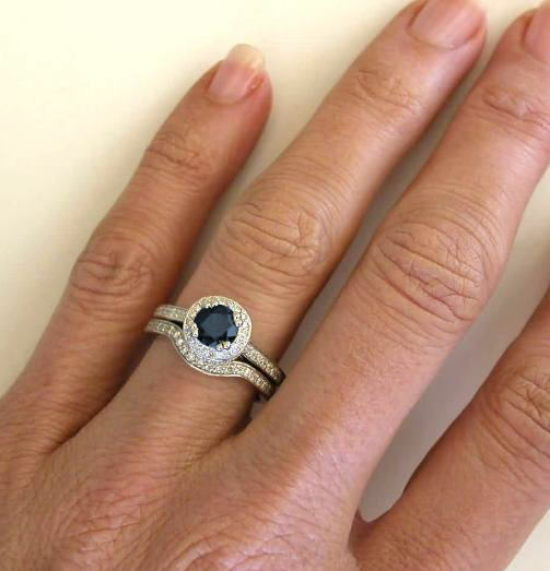 Dark Blue Sapphire Engagement Ring and Matching Contoured Diamond