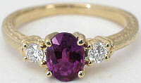 Past Present Future Magenta Sapphire and Diamond Ring in 14k Yellow Gold