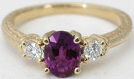 Magenta Sapphire and Diamond Ring in 14k yellow gold