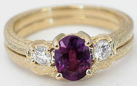 Vintage Magenta Sapphire and Diamond Engagement Ring with Matching Band in 14k Yellow Gold