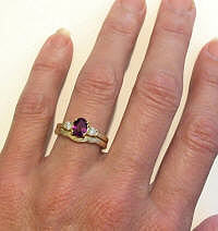 Antique Magenta Sapphire and Diamond Engagement Rings