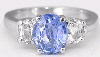 Blue Sapphire and White Sapphire Ring in 14k white gold
