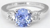 Blue and White Sapphire Ring in 14k white gold