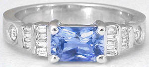 1.30 ctw Radiant Cut Sapphire and Diamond Ring in 14k white gold