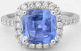 3.62 ctw Ceylon Cushion Cut Sapphire & Diamond Ring in 14k white gold