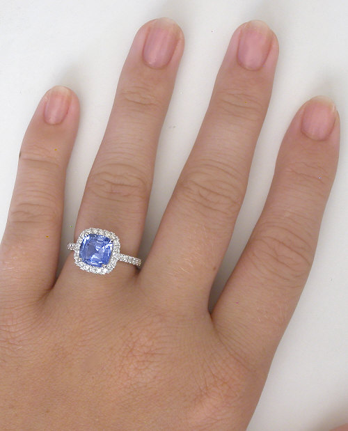 3 62 ctw Cushion Light Blue Sapphire and Diamond Engagement Ring