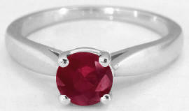 Ruby Solitaire Rings in 14k White Gold