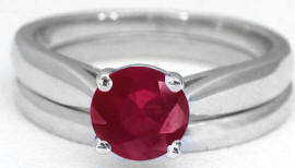 Engagement Rings with Ruby Solitaire in 14k