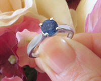 1 carat Genuine Round Blue Sapphire Solitaire Ring in Real 14k white gold for sale