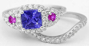 Tanzanite, Pink Sapphire and Diamond Engagement Ring in 14k white gold