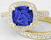 Tanzanite Cushion and Diamond Engagement Ring in 14k yellow gold