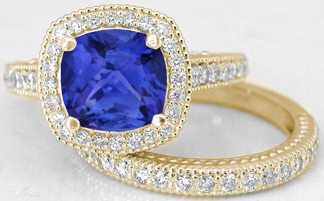 Diamond Halo Engagement Rings With Tanzanite In 14k Yellow