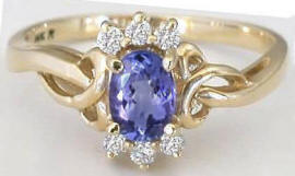 Oval Tanzanite Diamond Ring