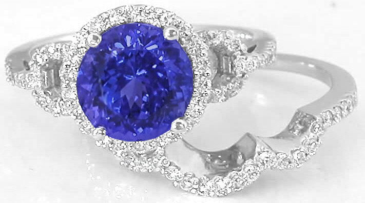 Tanzanite Diamond Engagement Ring With Matching Diamond