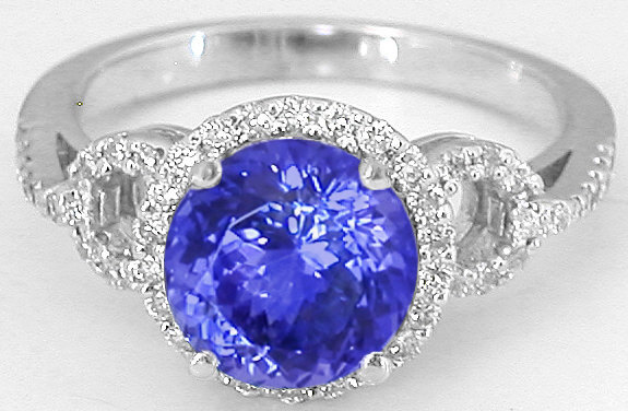 Tanzanite Diamond Engagement Ring With Matching Diamond