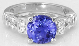Round Tanzanite and Diamond Ring in 14k white gold