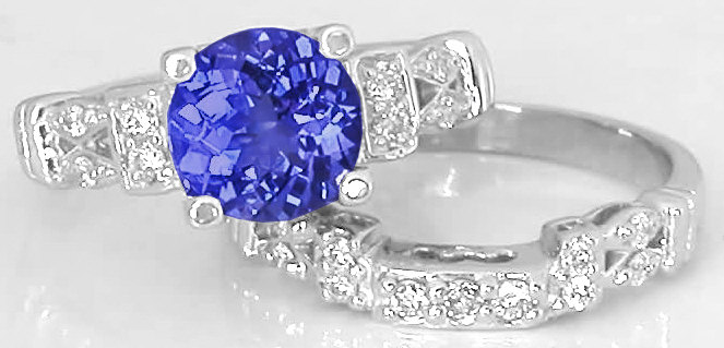 Round Tanzanite And Diamond Engagement Ring Band In 14k White Gold